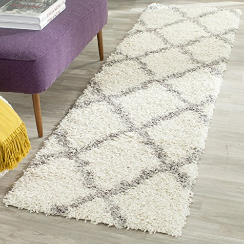 Safavieh Dallas Shag Collection SGD257F Ivory and Grey Runner (2'3'' x 6') by Safavieh