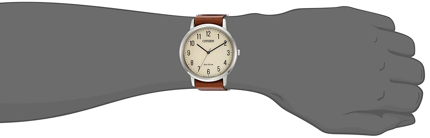 Citizen Men s Eco-Drive Quartz Stainless Steel and Leather Casual Watch, Color Brown Model BJ6500-21A