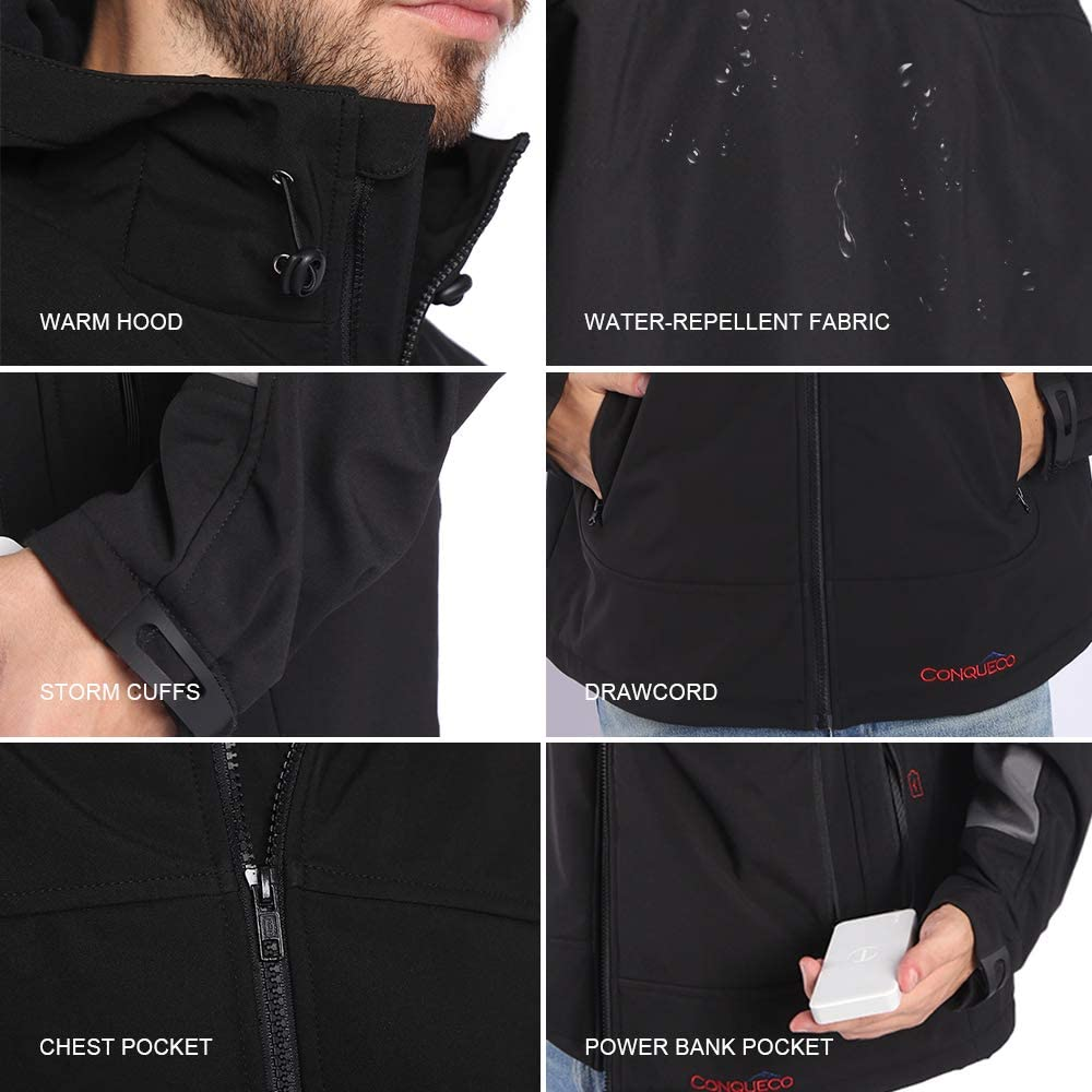 CONQUECO Mens Heated Jacket Soft Shell Hoodie Jacket for Outdoors