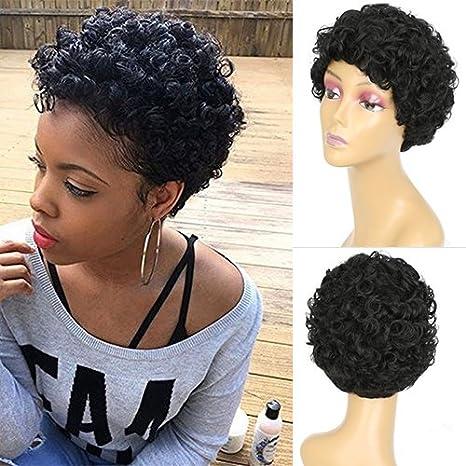 Peluca de pelo de pájaros azules cortas negras rizadas para mujer resistente al calor peluca sintética