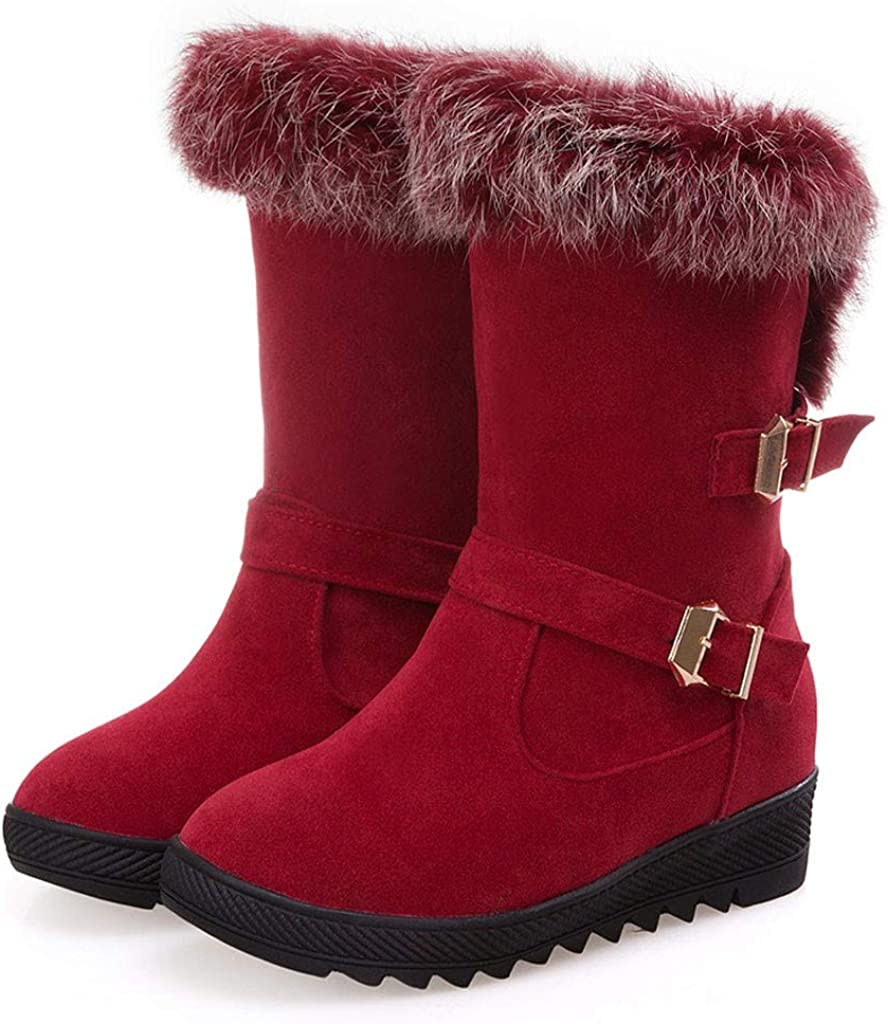 Quealent Snow Boots for Women Wide Calf,Womens Warm Waterproof Insulated Comfortable Memory Foam Fur Winter Snow Boots