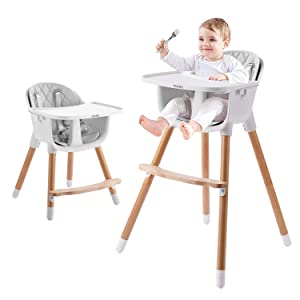 IKARE Wooden Natural Baby High Chair W/ Removable Tray & Safety Harness, 3-in-1 Infant Highchair / Booster / Kid Chair | Grows with Your Child | Adjustable Legs | Modern Wood Design (Gray)