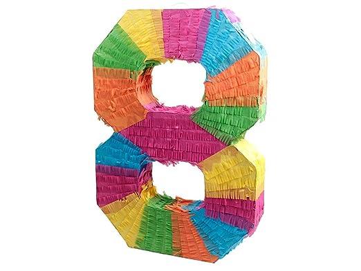 Alsino Piñata Multicolor | Forma de número 8 | para la Fiesta de Cumpleaños | Entretenimiento Niños, Piñata número 8