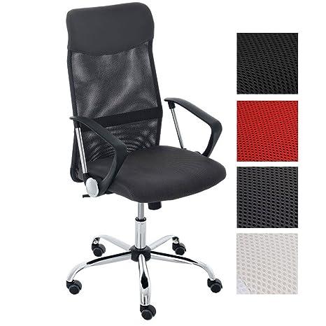 CLP Silla de Oficina Washington Regulable en Altura I Silla de Ordenador Tapizado en Cuero Sintético y Respaldo en Red I Color: Gris