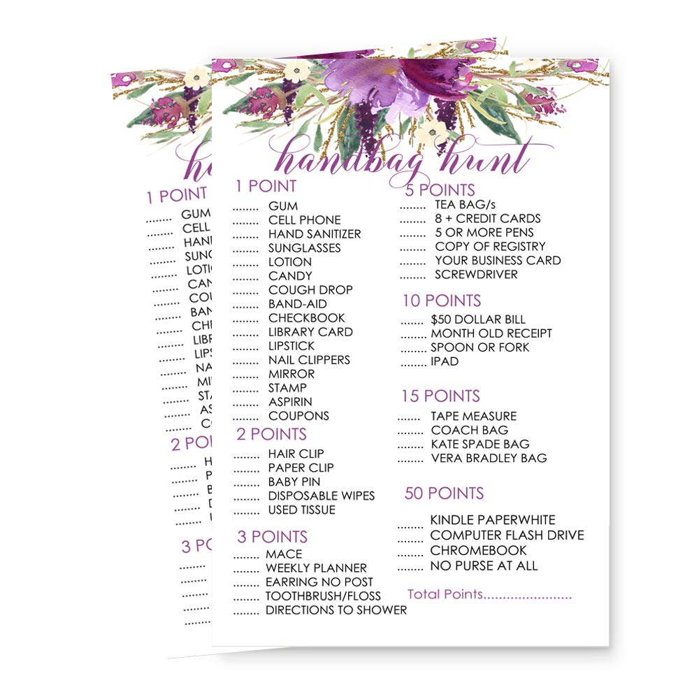 Purple Floral What In Your Purse Party Game Cards Trivia Set of 25