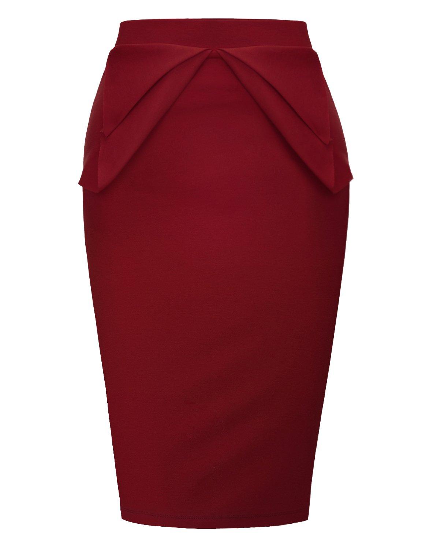 Regna X Womens Elastic Waist Band Knee Length Skirts Burgundy M