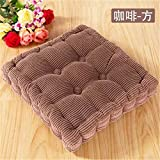 18''x18'' High Quality Square Corduroy Super Soft Polyester Cotton Chair Cushion Thickened Office Seat Cushions Mat Pad for Home Office Kitcken(Coffee)