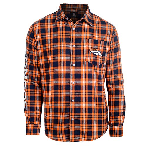 Denver Broncos Wordmark Basic Flannel Shirt Extra Large