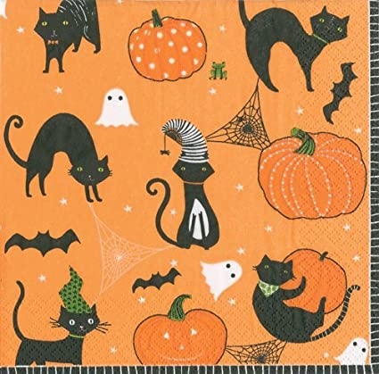 Halloween Party Decorations Halloween Party Ideas Paper Napkins Scary Cats  Pk 40