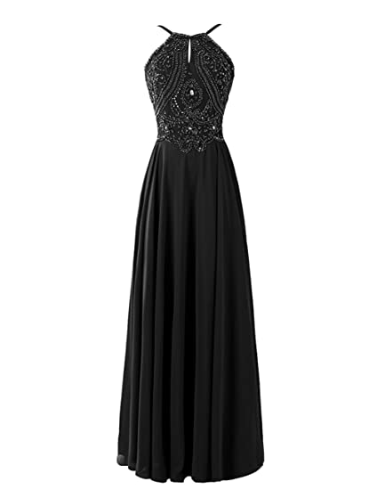 Dresstells Long Chiffon Dresses Spaghetti Straps Crystal Evening Dresses