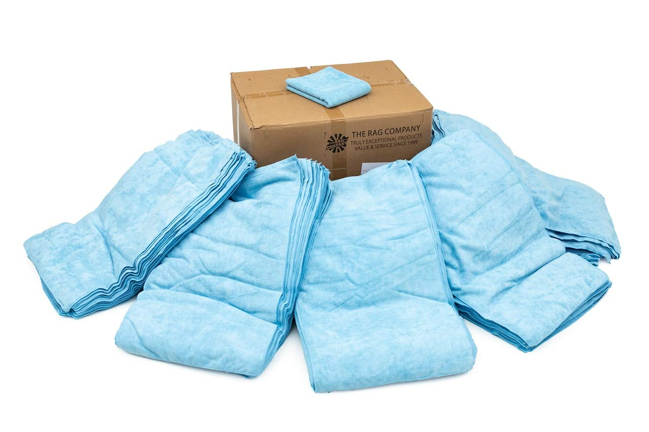 THE RAG COMPANY (125-Pack Full Case 16 inch x 27 inch CAR WASH Towel Professional 320 GSM Microfiber Auto Detailing and Drying Towels - Light Blue