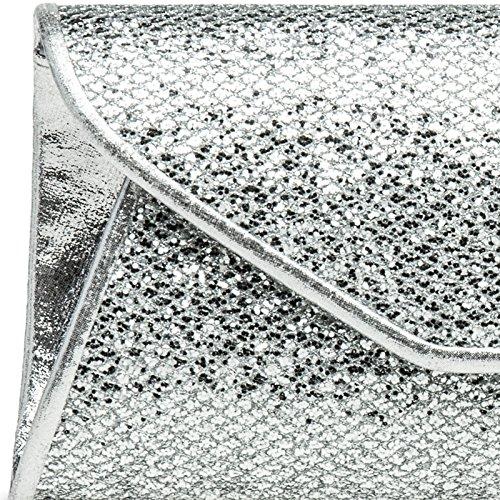 CASPAR TA347 Damen elegante Glitzer Clutch Tasche/Abendtasche Silber