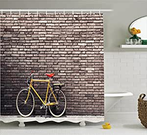 Bicycle decor shower curtain set by ambesonne for 70 bike decoration