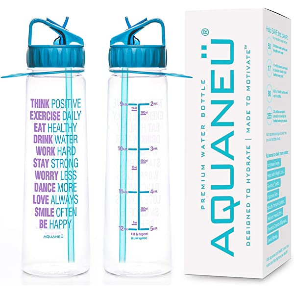 AQUANE/Ü 30oz Inspirational Fitness Workout Sports Water Bottle with Time Marker Measurements Goal Marked Times for Measuring Your H2O Intake BPA Free Non-Toxic Tritan Kol Hahn