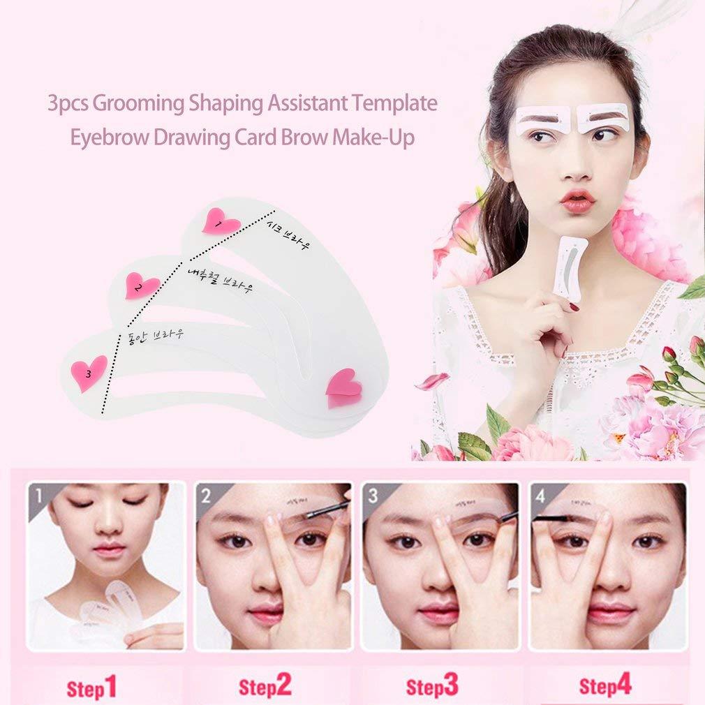 Yofafada 3pcs Grooming Shaping Assistant Template Eyebrow Drawing Card Brow Make-Up Transparent