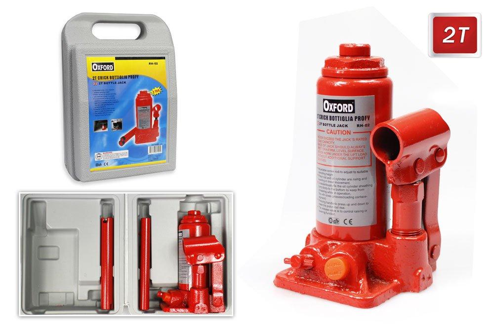 Vetrineinrete® Cric idraulico a bottiglia con portata di 2 tonnellate sollevatore per auto in valigia A21