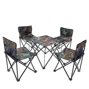 LJXiioo Mesa de Camping y sillas, portátil Plegable para Picnic. Festivales de Camping. Barbacoa Senderismo Pesca: Amazon.es: Deportes y aire libre
