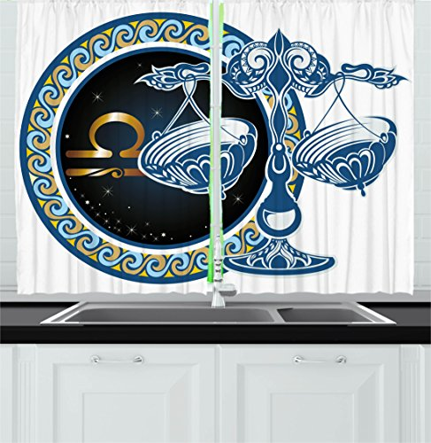 Zodiac Decor Kitchen Curtains by Ambesonne, Historical Astronomy Icon Libra Pattern with Wheel and Scales Planetary Image, Window Drapes 2 Panels Set for Kitchen Cafe, 55 W X 39 L Inches, Blue Gold