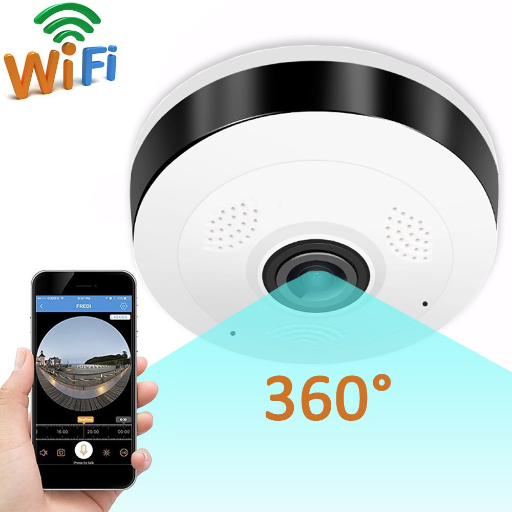 Home Security camera Syetem-GBD IP Camera 360 Degree Panoramic Fisheye 3D VR Wireless Wifi 2.4GHZ Indoor Outdoor Super Wide Angle IR Night Safe Motion Detection Travel Camping (White+Black)