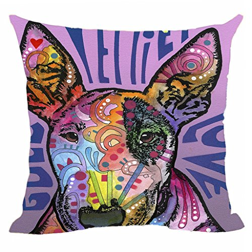 CafeTime Cute Bull Terrier Pillow Covers Colorful Animals Sofa Bed Decorative Pillowcases Art Dog Custom Canvas Pillow Cases For Gift 18