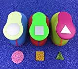 TECH-P Creative Life Hand Press Paper Craft Punch,card Scrapbooking Engraving Kid Cut DIY Handmade Hole Puncher-3 Pack (Square+Triangle+Circle)