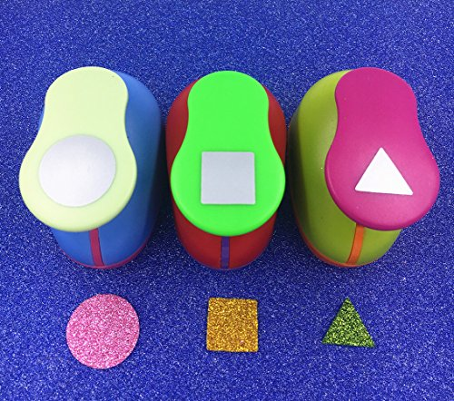 TECH-P Creative Life Hand Press Paper Craft Punch,card Scrapbooking Engraving Kid Cut DIY Handmade Hole Puncher-3 Pack (Square+Triangle+Circle) by TECH-P