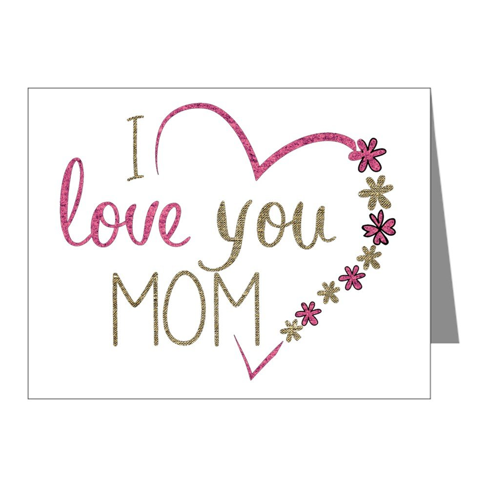 Note Card I Love You Mom Burlap and Pink Heart