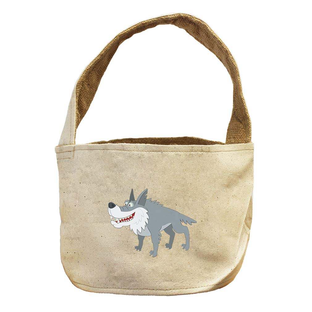 Style in Print Wolf Smiling Animals Canvas and Burlap Storage Basket
