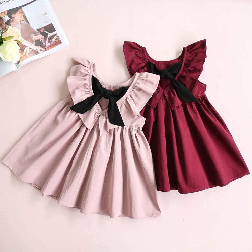 Monvecle Infant Baby Toddler Girls Dress Kids Cotton Flower Bowknot Princess Skirt