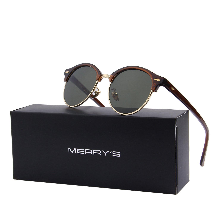 MERRY'S Polarized Sunglasses for Men Women Semi Rimless Retro Brand Sun Glasses S8054 (Brown&Green, 56)