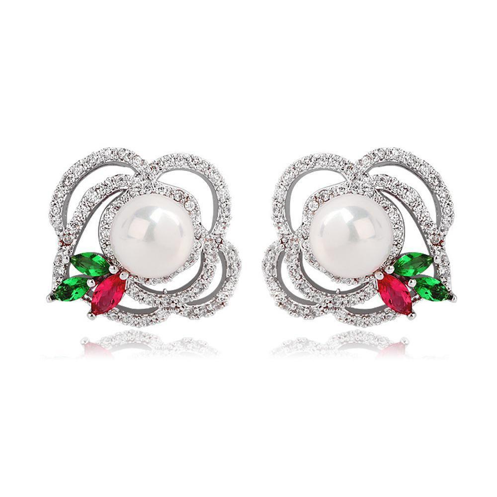 Maerye Flowerのイヤリング、パールのイヤリング、女性用ギフトのイヤリング。   B07F24798N