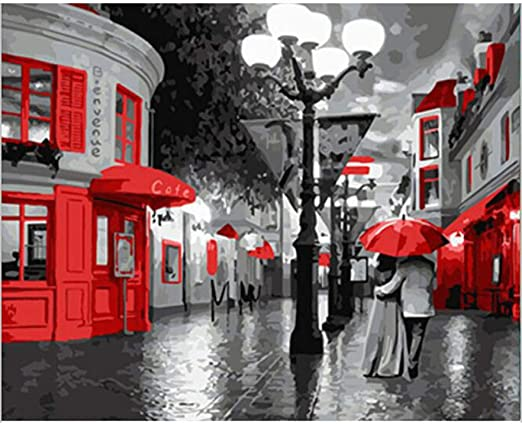 LiMengQi2 Arte Sala de Estar decoración del hogar Pintura Pareja día lluvioso Lienzo romántico Cuadro de la Pared (Sin Marco): Amazon.es: Hogar