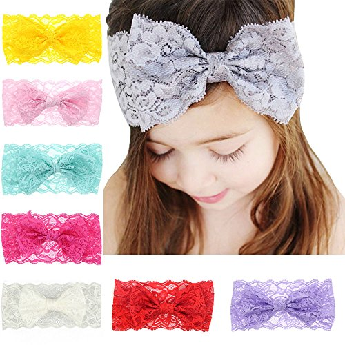Iversan Fashion Lace Big Bow Hair Band; Baby Headbands Accessories (XF-002 8pcs)