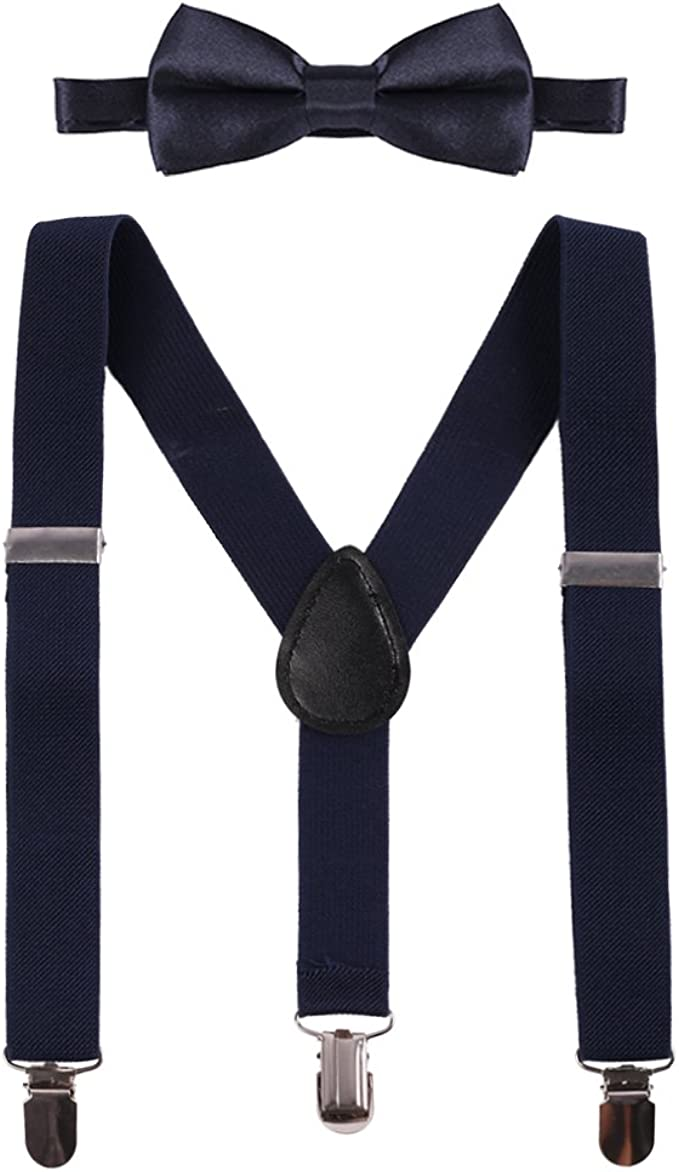 Boys Girls Adjustable Y Back Elastic Clip Suspenders Pre-tied Outfits Bowtie Set