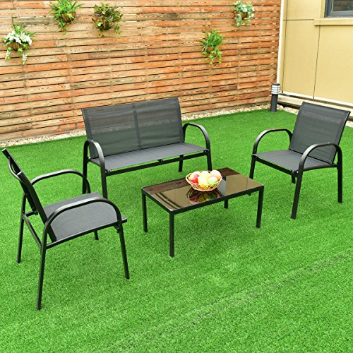 New MTN-G 4 PCS Patio Furniture Set Sofa Coffee Table Steel Frame Garden Deck Black (Amart Furniture Outdoor)