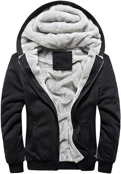 Mens Hoodie Coat Zip Up Winter Thermal Fleece Lined Knitted Cardigan Jumper Top