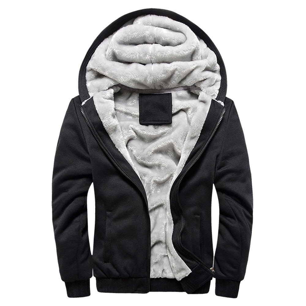 Casual Warm Cotton Baseball Outwear Large Size Cardigan Coat OMINA Mens Winter Fleece Jacket Hoodie