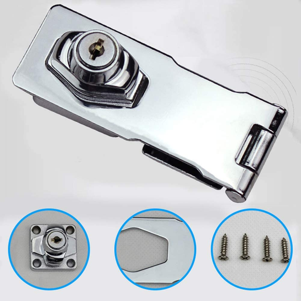 Silver 2.5 Inches Plating Self Locking Security Hasp Staple 2 Keys Cabinet Lock Drawer Padlock Home Improvement Tools Kit XKSIKjians Hardware Tool