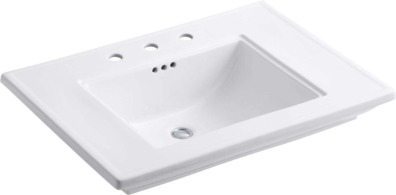 Kohler K-2269-8-0 Fireclay Ceramic Pedestal Rectangular Bathroom Sink, 31.88 x 10.5 x 24.25 inches, White