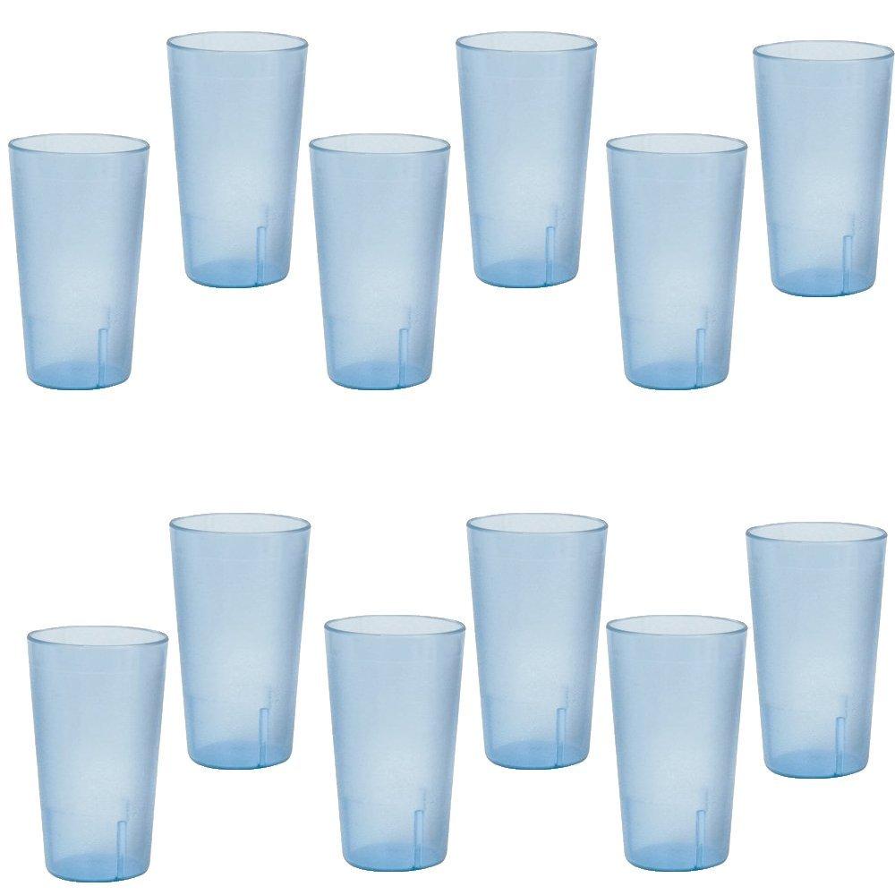 20 Ounce Restaurant Tumbler Beverage Cup, Stackable Cups, Break Resistant Commmerical Plastic, Set of 12 - Blue