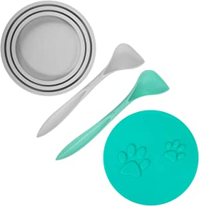 SLSON 2 Pack Pet Food Can Cover Universal Silicone Cat Dog Food Can Lids 1 Fit 3 Standard Size Can Tops with 2 Spoons,Green and Grey