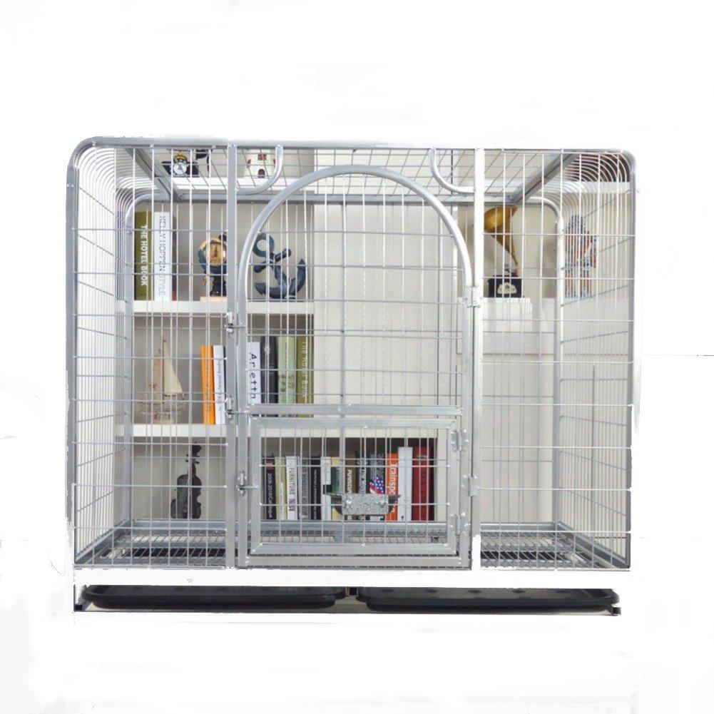 ステンレス犬ケージ箱,中型大型犬ケージ 折り畳み式の金属製犬クレート犬フェンス ペット ベビー サークル トレーニング ペット フェンス-ブラック 125x95x115cm(49x37x45inch) B07CVSVCTT 125x95x115cm(49x37x45inch)|ブラック