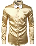 ZEROYAA Mens Solid Color Casual Slim Fit Long Sleeve Shiny Satin Prom Dress Shirt Tops