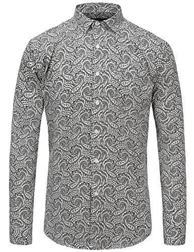 JEETOO Men's Paisley Print Cotton Long Sleeve Casual Slim Fit Button Down Shirt(M,Black)