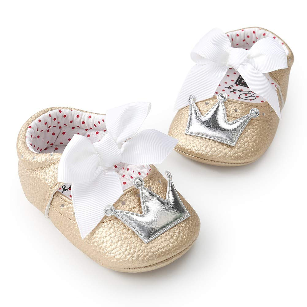 Norbi Baby Infant Girls Shoes Baby Dance Shoes Soft Sole Bow Tie Baby Princess Prewalker Shoes