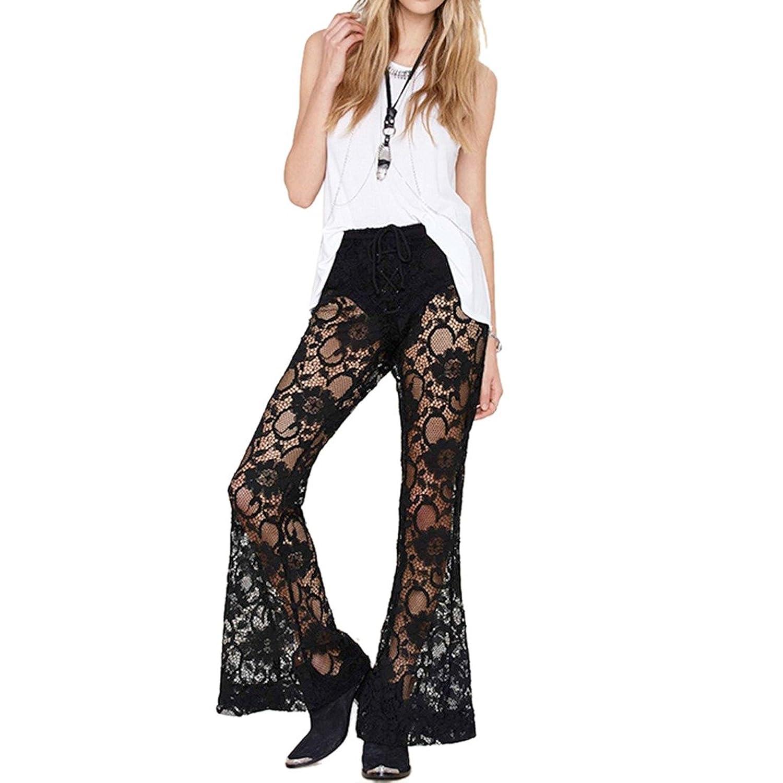 Sexy Womens Black Lace Hook Flower Hollow Out Wide Leg Pants Long Trouser XS-XXL