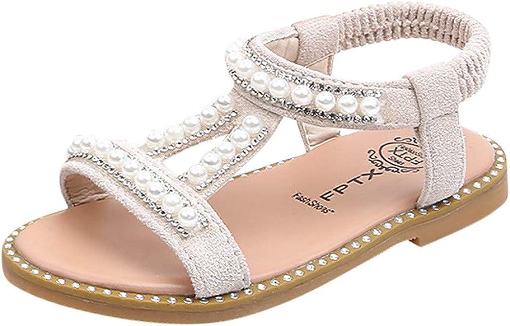 Mitlfuny Ni/ñas Bebe Sandalias Suela con Goma Antideslizantes Perla Rhinestone Romanas Sandalias Princesa Zapatos Primavera Verano Ni/ña Moda Calzado Zapatillas de Playa Reci/én Nacido Ni/ño 1-6 A/ños