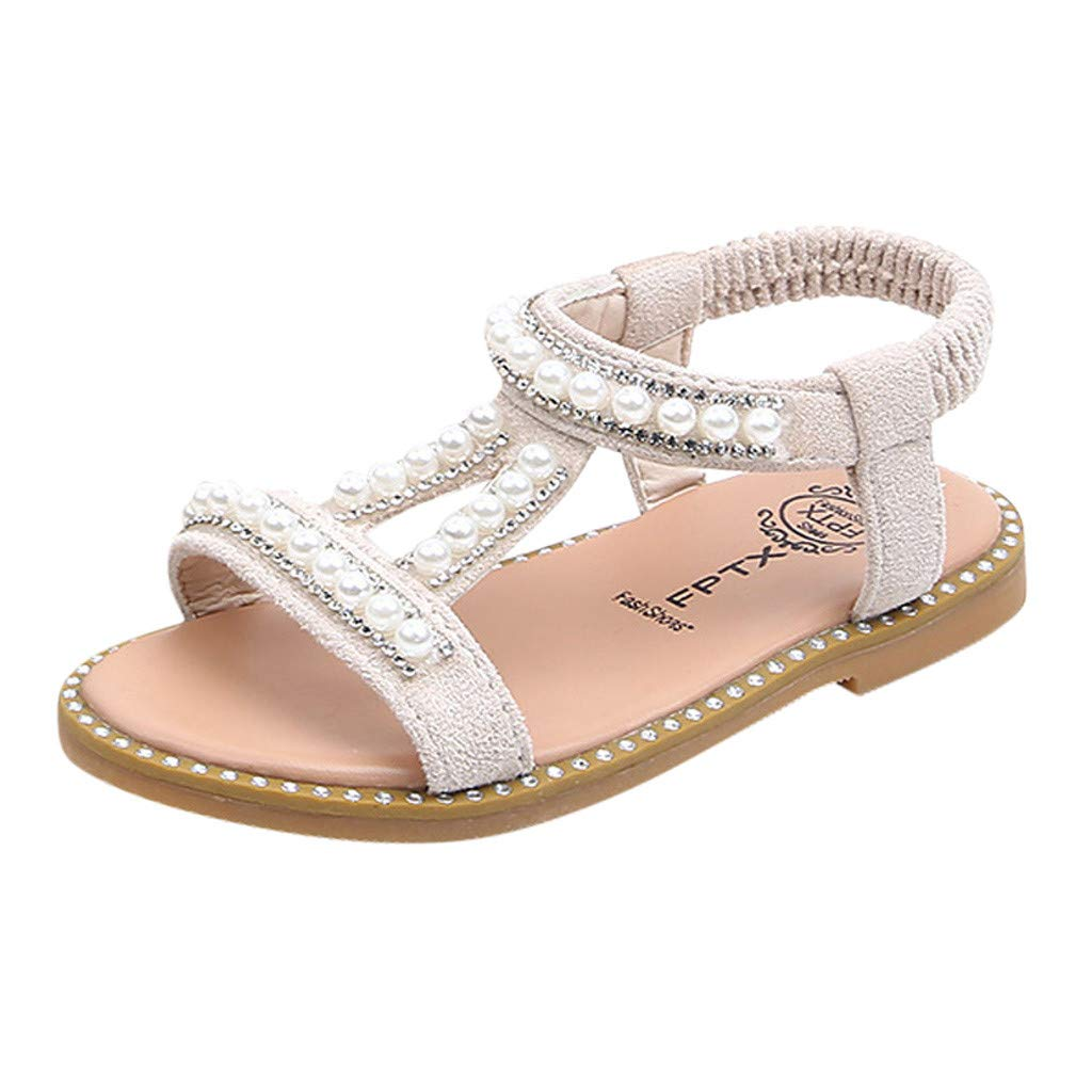 Baby Girls Sandals Summer Pearl Crystals Little Kids Roman Dress Boots Open-Toe Sandal Crib Shoes