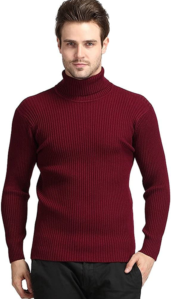 NiSeng Pull col Roulé Homme Manches Longues Sweat Slim Casual Tricoté Pullover Pull en Maille