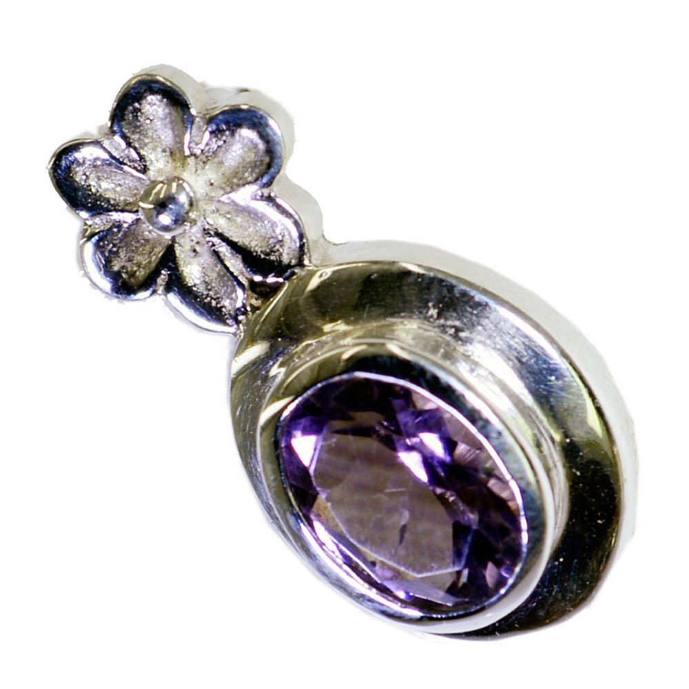 Natural Amethyst Silver Pendant For Women February Birthstone Charms Chakra Healing Necklace Oval Shape